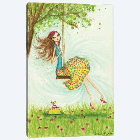 Garden Girls: Swing Canvas Print #BPR73} by Bella Pilar Canvas Print