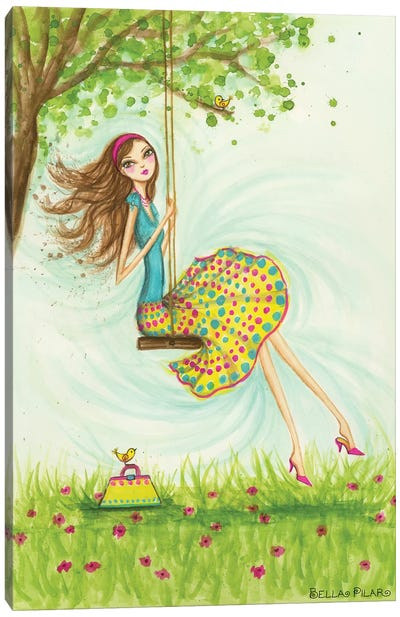 Garden Girls: Swing by Bella Pilar Canvas Print