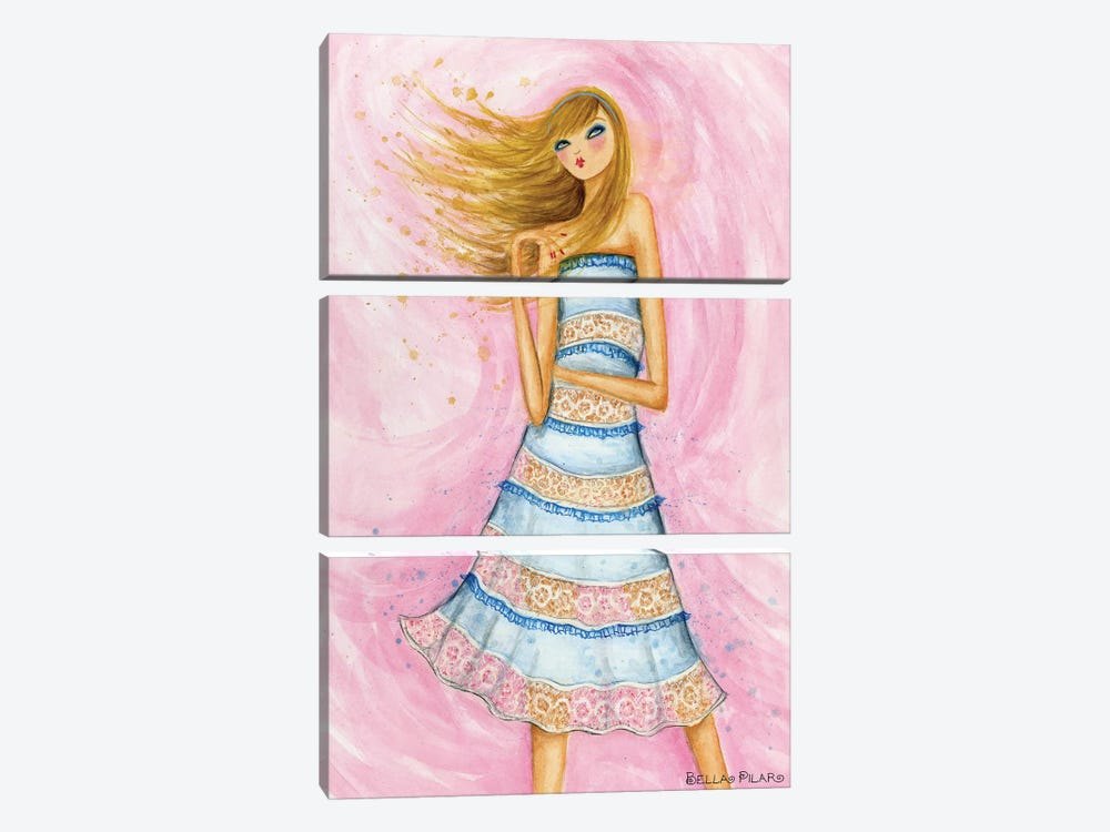 In Style: Blue Lace Dress by Bella Pilar 3-piece Canvas Art Print