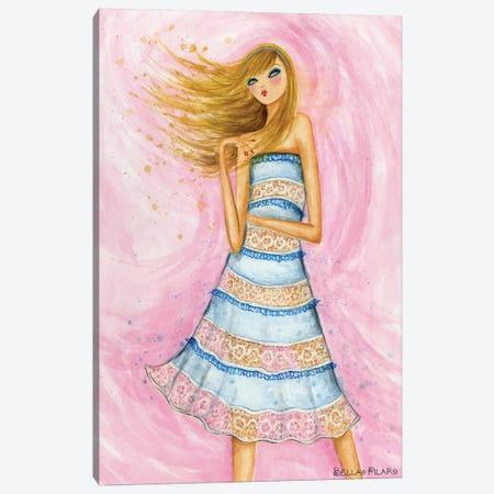 Blue Lace Dress Canvas Print #BPR76} by Bella Pilar Canvas Art
