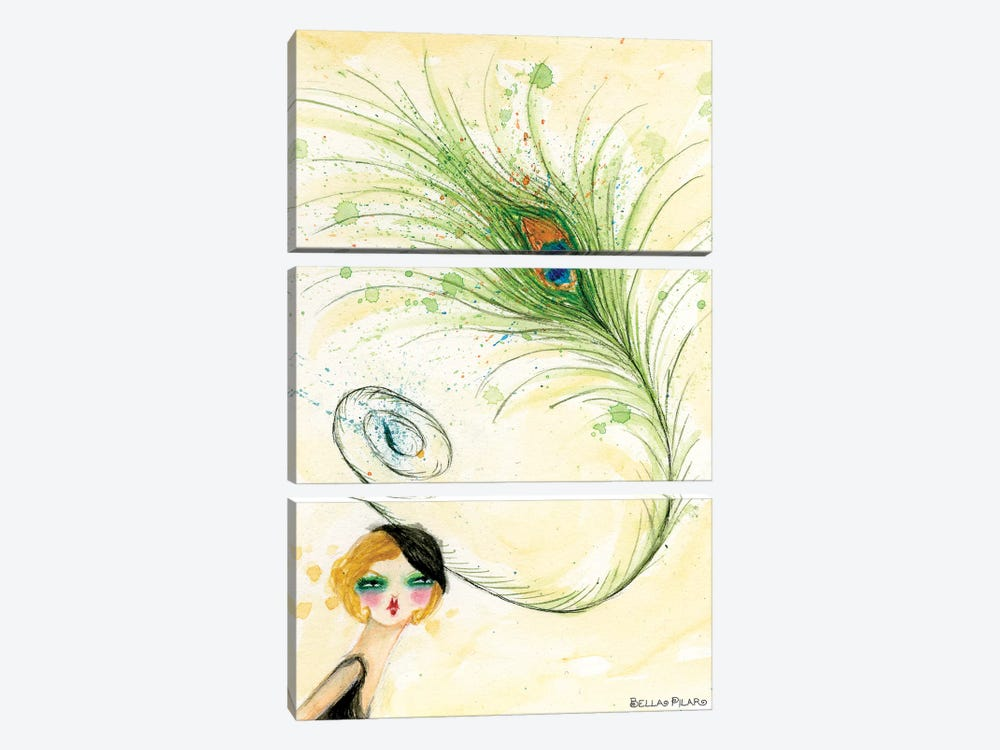 Peacock Hat by Bella Pilar 3-piece Canvas Wall Art