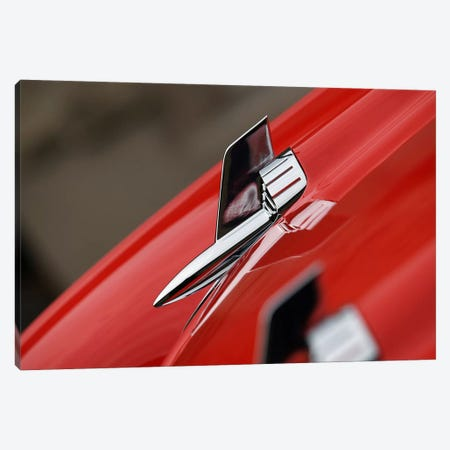 1957 Chevy Bel Air Hood Ornament Canvas Print #BRA11} by Clive Branson Art Print