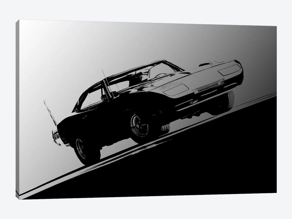 1969 Dodge Daytona, Black & White by Clive Branson 1-piece Canvas Wall Art