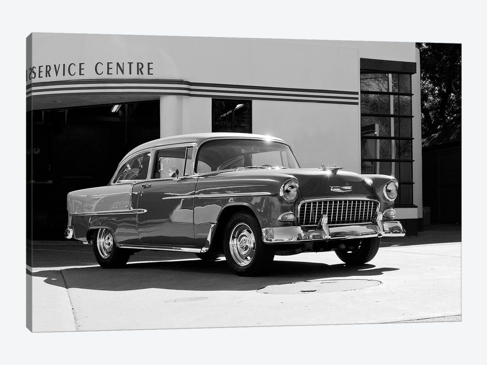 1955 Chevy Bel Air, Black &White by Clive Branson 1-piece Canvas Art