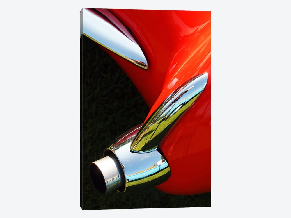 1956 Corvette, Exhaust by Clive Branson 1-piece Canvas Print
