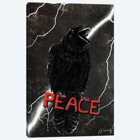 Crow For Peace Canvas Print #BRF12} by Barruf Canvas Artwork
