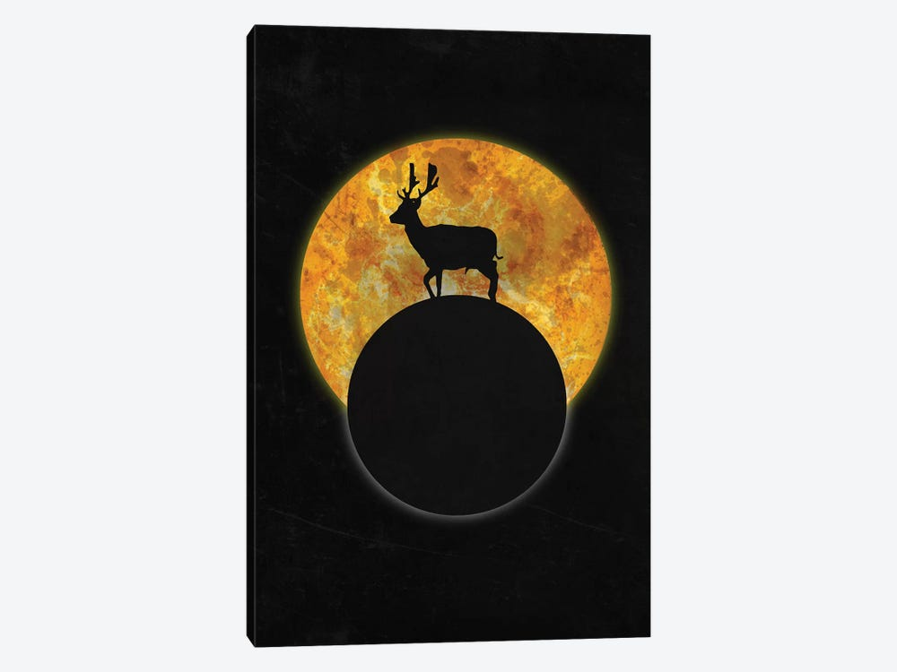 Deer On The Moon by Barruf 1-piece Art Print