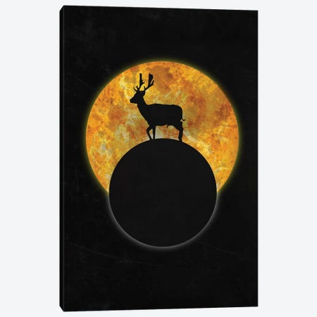 Deer On The Moon Canvas Print #BRF14} by Barruf Art Print