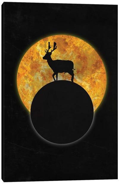 Deer On The Moon Canvas Art Print