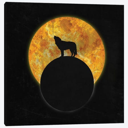 Wolf On The Moon Canvas Print #BRF15} by Barruf Canvas Art Print