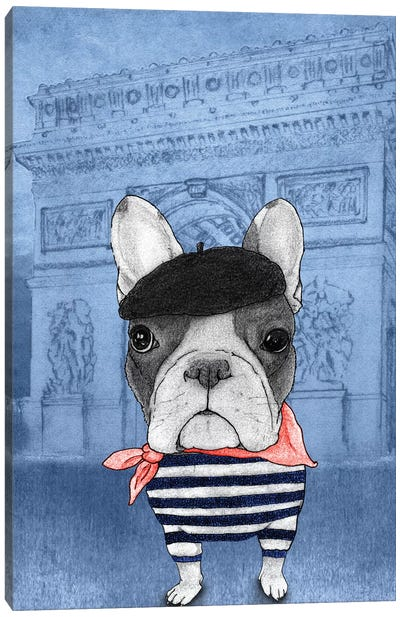 French Bulldog With The Arc de Triomphe Canvas Art Print