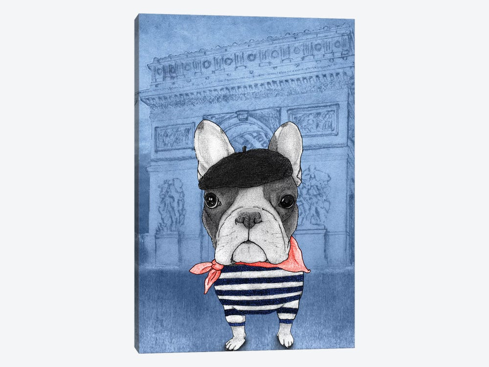 French Bulldog With The Arc de Triomphe by Barruf 1-piece Canvas Print