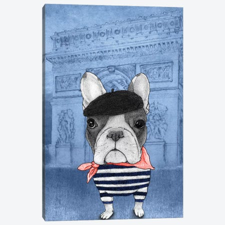 French Bulldog With The Arc de Triomphe Canvas Print #BRF16} by Barruf Canvas Print