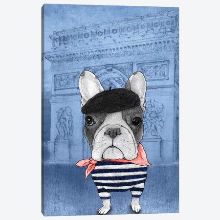 French Bulldog With The Arc de Triomphe Canvas Print #BRF16} by Barruf Canvas Print