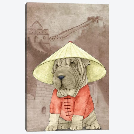 Shar Pei With The Great Wall Canvas Print #BRF17} by Barruf Canvas Art Print