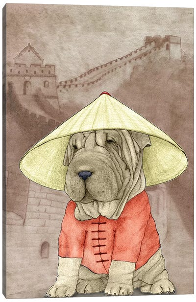 Shar Pei With The Great Wall Canvas Art Print
