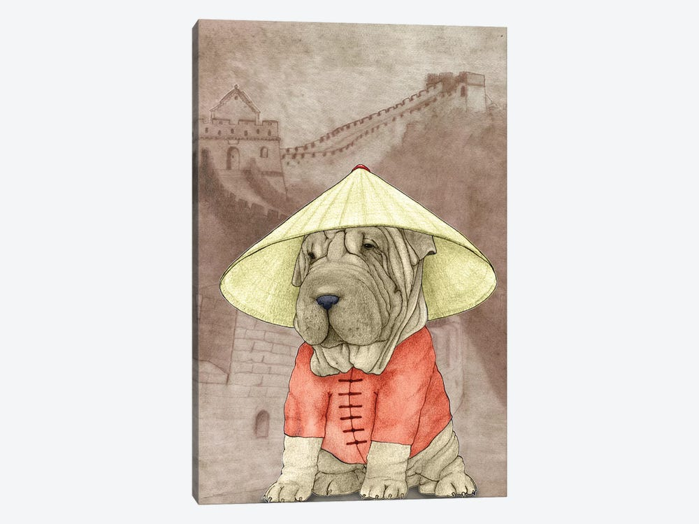 Shar Pei With The Great Wall by Barruf 1-piece Canvas Wall Art
