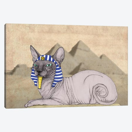 Sphynx Cat With The Pyramids Of Giza Canvas Print #BRF18} by Barruf Canvas Art
