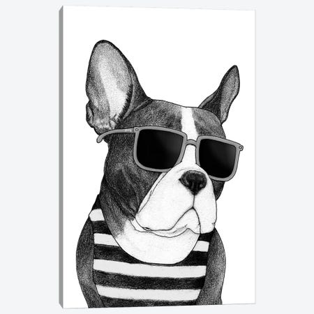 Frenchie - Summer Style In B&W Canvas Print #BRF20} by Barruf Canvas Art Print