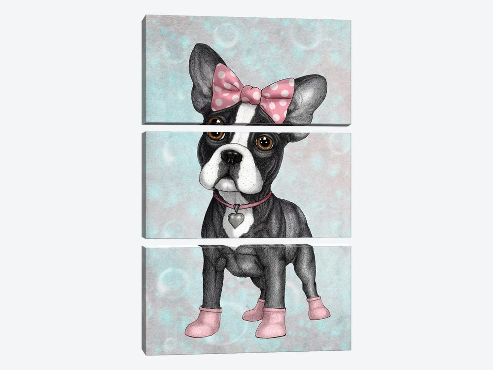 Sweet Frenchie by Barruf 3-piece Canvas Art Print