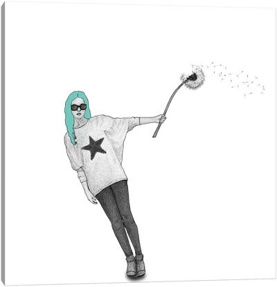 Girl With Dandelion Canvas Art Print