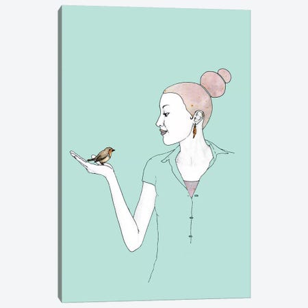 Girl With Robin Canvas Print #BRF27} by Barruf Canvas Wall Art