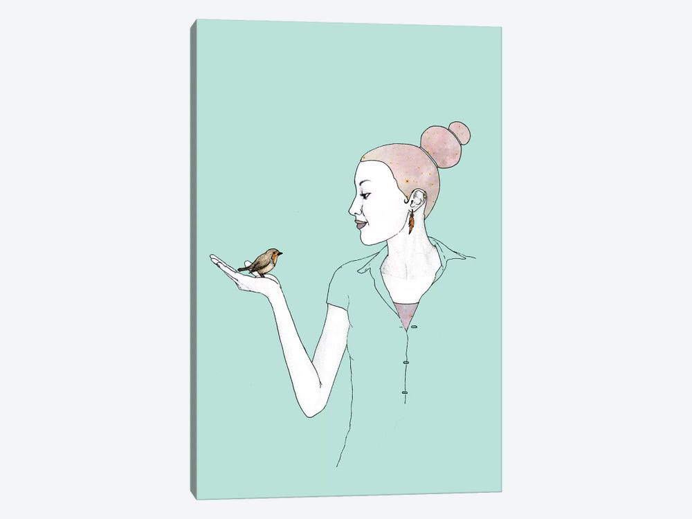 Girl With Robin by Barruf 1-piece Art Print