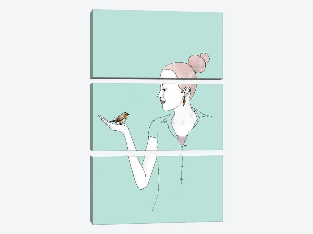 Girl With Robin by Barruf 3-piece Canvas Print