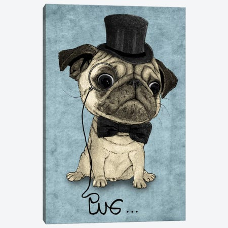 Gentle Pug Canvas Print #BRF2} by Barruf Canvas Wall Art