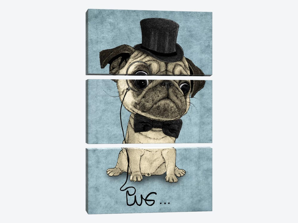 Gentle Pug by Barruf 3-piece Canvas Print