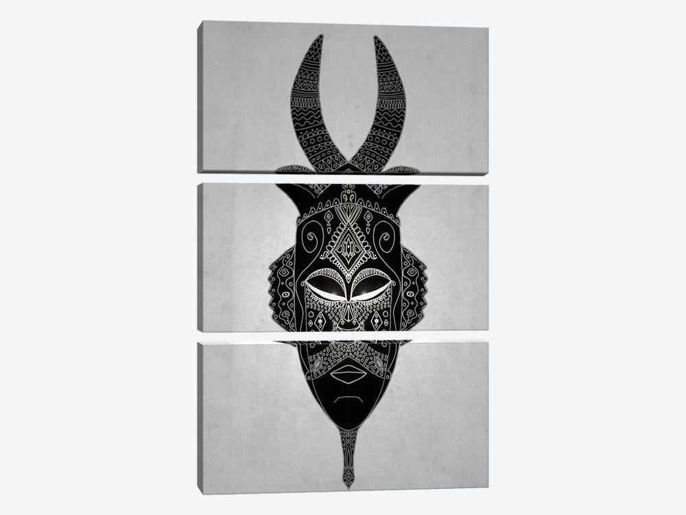 Horned Tribal Mask I by Barruf 3-piece Canvas Print