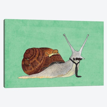 Mr. Snail Canvas Print #BRF44} by Barruf Canvas Wall Art