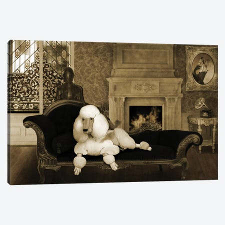 Smoking Vintage Poodle Canvas Print #BRF58} by Barruf Canvas Art