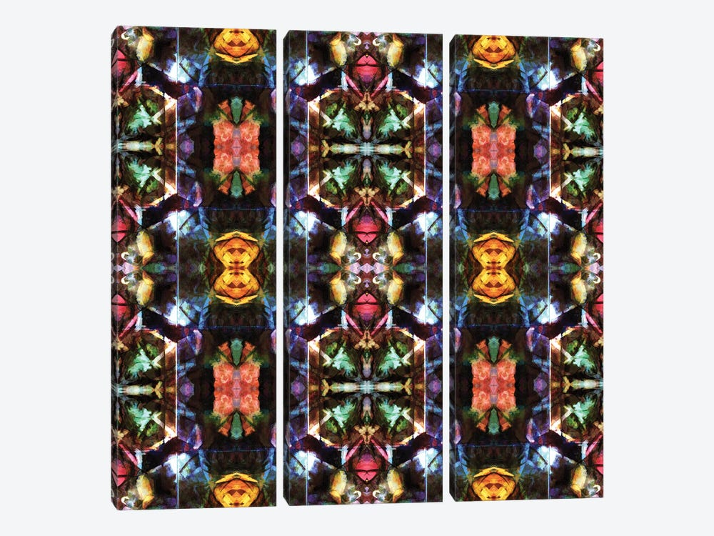 Stained Glass Window Pattern by Barruf 3-piece Canvas Wall Art