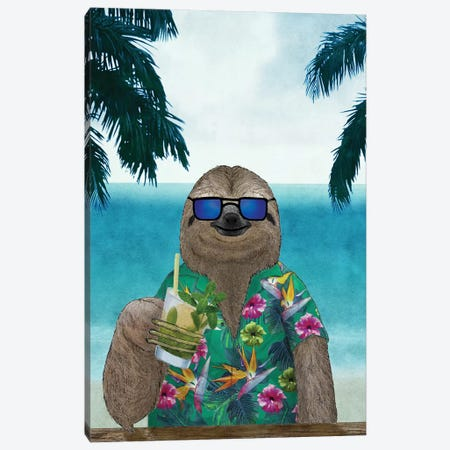 Summer Sloth Canvas Print #BRF60} by Barruf Canvas Print