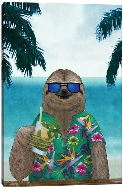 Summer Sloth Canvas Art Print