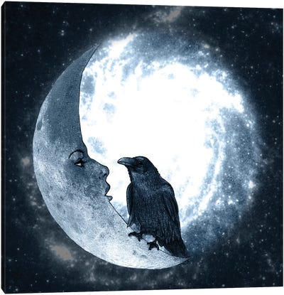 The Crow And Its Moon Canvas Art Print
