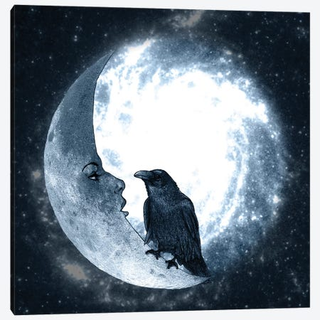 The Crow And Its Moon Canvas Print #BRF63} by Barruf Art Print