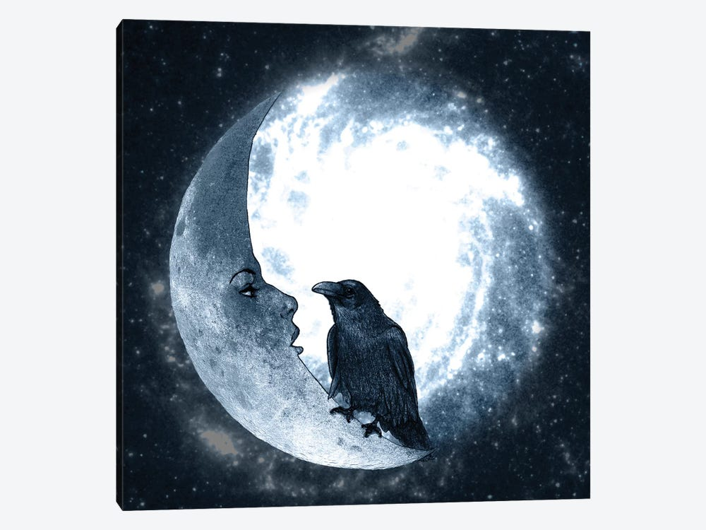 The Crow And Its Moon by Barruf 1-piece Art Print