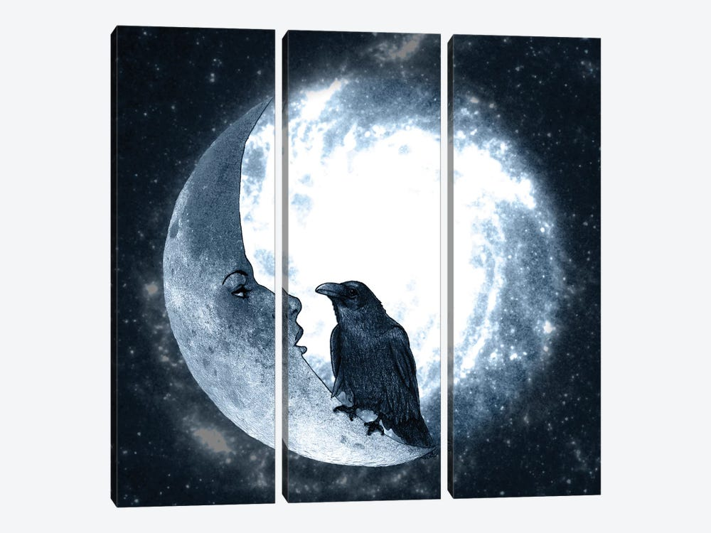 The Crow And Its Moon by Barruf 3-piece Canvas Art Print