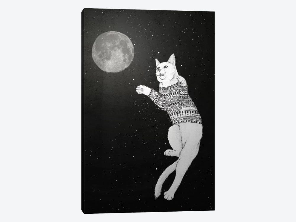 Cat Trying To Catch The Moon by Barruf 1-piece Canvas Art Print