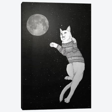 Cat Trying To Catch The Moon Canvas Print #BRF6} by Barruf Art Print