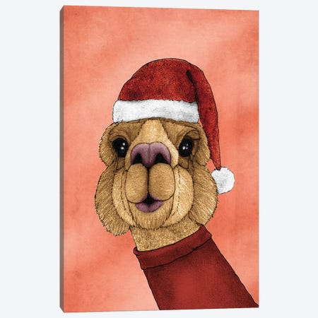 Christmas Alpaca Canvas Print #BRF7} by Barruf Canvas Art Print