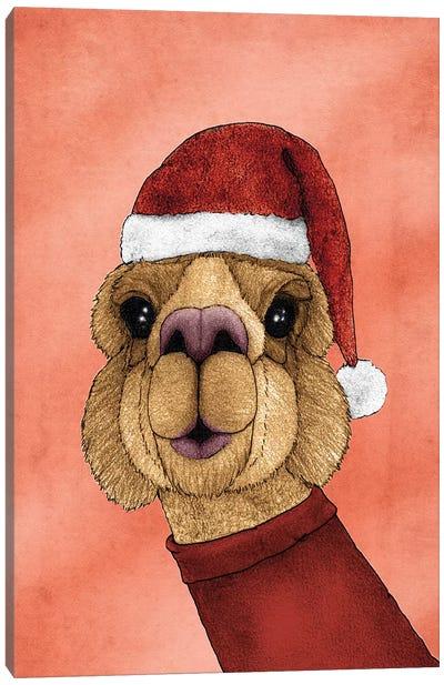 Christmas Alpaca Canvas Art Print