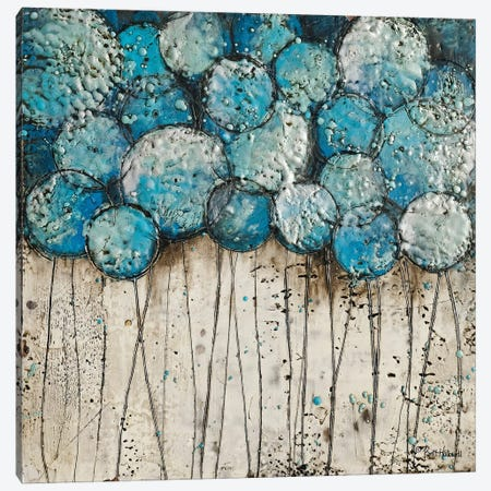 Bubble Trees in Blue Canvas Print #BRH8} by Britt Hallowell Canvas Art