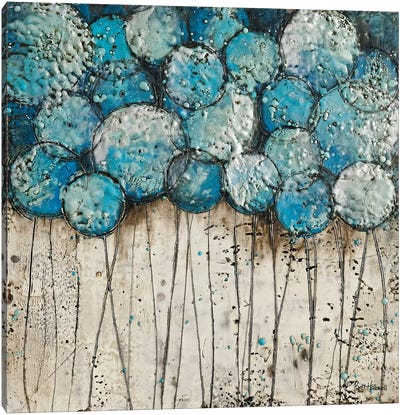 Bubble Trees in Blue Canvas Art Print
