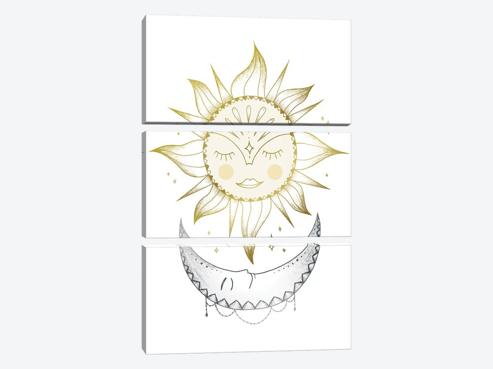 Sun And Moon by Barlena 3-piece Canvas Wall Art