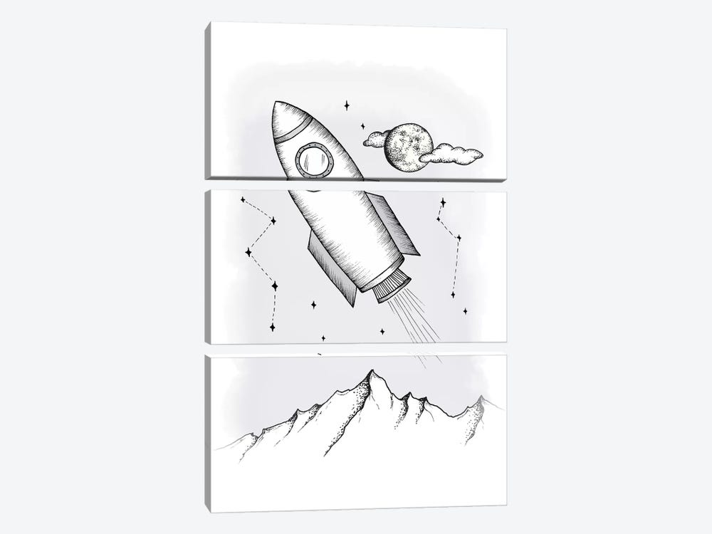To the galaxy by Barlena 3-piece Art Print