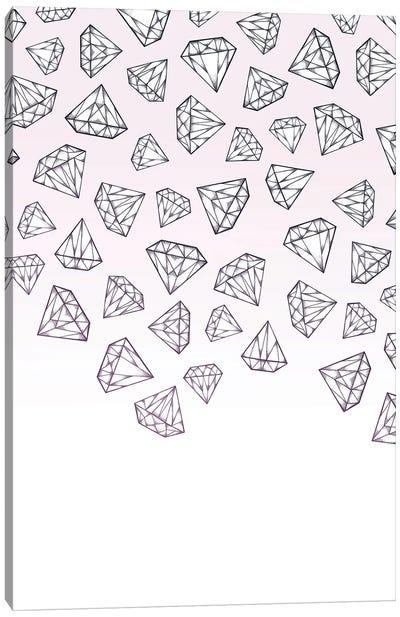 Diamond Shower - Pink Canvas Art Print
