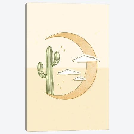 Moon Cactus Canvas Print #BRL130} by Barlena Canvas Artwork